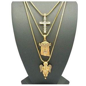 Other - Jesus Face Diamond Cross Holy Angel Necklace Gold